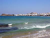 View of Chora, from the beach of Aghios Giorgios (St.George)